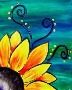 Sunflower Whimsy, whimsical beginner painting idea with swirls., - - Sunflower Whimsy, whimsical beginner painting idea with swirls. Simple Canvas Paintings, Easy Canvas Painting, Diy Canvas Art, Acrylic Canvas, Canvas Ideas, Easy Acrylic Paintings, Oil Paintings, Acrylic Painting For Kids, Canvas Painting Designs