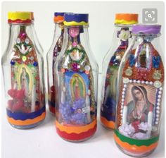 A Mexican shrine in a bottle conveys the admiration of the Virgen de Guadelupe through color, glitter, candles, flowers and shine! The goodies inside are different on both sides. Each bottle is one of Catholic Crafts, Catholic Kids, Catholic Religious Education, Religious Art, Mexican Crafts, Mexican Folk Art, Mexican Stuff, Faith Crafts, Bible Crafts