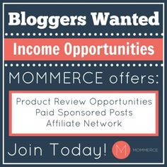 If you are looking for (more) ways to monetize your blog, consider joining Mommerce. Mommerce is a fairly new network that is growing fast! We have a goal of adding 1000 new bloggers to our team and we are almost there!  Come join the team today. You can join through my referral link here: http://network.mommerce.com/signup/2403