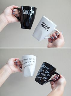 DIY personalized Bride and Groom mugs using Pier 1 White and Black Luminous Square Mugs