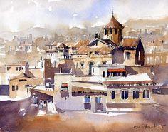 Iain Stewart    Parroquia de la Mare de Deu de Betlem, Barcelona  watercolor sketch