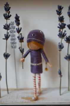 Needle felted figurines, fairies, in 3D frame - LAVENDER