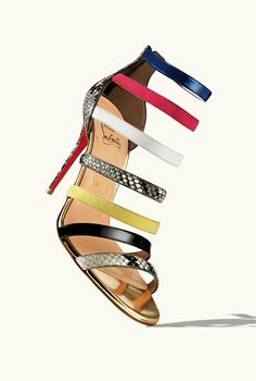 Christian Louboutin gold leather Mariniere 100 multicolor embossed accent open toe sandals