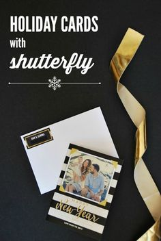 christmas cards from shutterfly - black, white, gold, and stripes! | www.thesweetestdigs.com