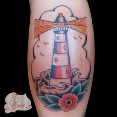 tattoo old school / traditional nautic ink - lighthouse @ arm (by Evie Yapelli)