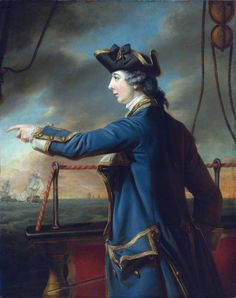 A black Hanovarian cockade. Edward Knowles (1742-1762) captain of the HMS Peregrine by Francis Cotes