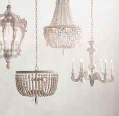 RH Baby & Child's Odille Chandelier:Our hand-carved wood chandelier exudes Baroque-inspired lines, with six robust scrolling arms adorned with a mix of botanical and beaded accents. An artfully applied finish highlights the fixture's artistry and relief.