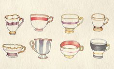 watercolor tea cups i just love water colors and i just love tea cups so this is really perfect!
