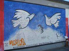 Part of the longest surviving section of the Berlin Wall, East Side Gallery, Berlin, Germany