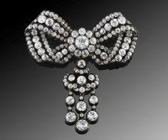 Austrian Antique diamond bow brooch