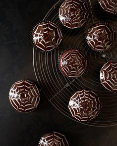 Red Velvet Spider Web Cupcakes