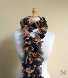 Ruffled scarf  ALMOND FUDGE  cowl by OriginalDesignsByAR on Etsy, $29.95