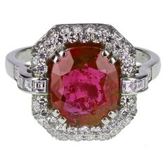 c1920's Art Deco 4.62 Carat Burma No Heat Ruby Diamond Platinum Cluster Ring | From a unique collection of vintage cluster rings at https://www.1stdibs.com/jewelry/rings/cluster-rings/