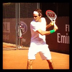 Roger Federer practicing in Rome with his Wilson Pro Staff tennis racket