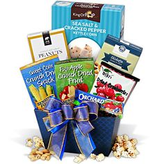 Keep 'em healthy with this Healthy Treats Gift Basket. Full of wholesome treats, it's a gift you can feel good about sending! Thank You Gift Baskets, Kettle Corn, Roasted Nuts, Gourmet Popcorn, Snack Recipes, Snacks, Healthy Treats, Thoughtful Gifts, Pop Tarts