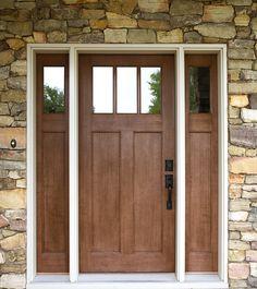 Exterior Doors | craftsman style fir textured fiberglass door with matching sidelites | Bayer Built Woodworks
