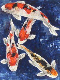 Original Watercolor Painting KOI Art Koi Fish Koi by LynnGobble