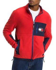 Tommy Hilfiger Tommy Jeans Full-zip Fleece Jacket In Red/multi Tommy Hilfiger Outfit, Tommy Hilfiger Sweatshirt, Jacket Style, Jacket Men, Plaid Fashion, Fashion Men, Sport Outfits, Casual Outfits, Menswear