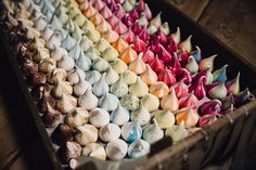 Colourful Meringue Girls Meringue Kisses - Samuel Docker Photography | Rustic Cripps Stone Barn Cheltenham Wedding | Hey Style styling & Props | Meringue Girls Treats | Jesús Peiró Wedding Dress from Miss Bush | Baz and Fred Pizza's