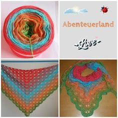 """Tuch aus Farbverlaufsgarn """"Abenteuerland"""" von 500 m bis 1500 m Lauflänge, 3 bis 5fädig ab 6,90 € unter www.garnstube.de"""