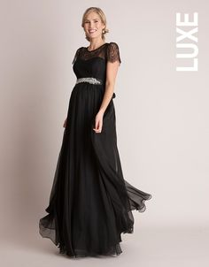 Black Silk and Lace Maternity Gown | Seraphine