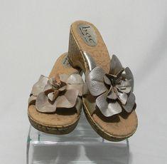 5dd8c7bae BOC Born Metallic Beige Leather Flower Cork Wedge Sandals Womens Sz Size 10  Heel  fashion