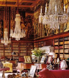 Eastnor Castle. Candeliers. books, sofas and chairs, the perfect spot for all things for the mind and spirit.