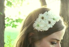 cream and  white wedding flower headband crown for by ahnooshig,