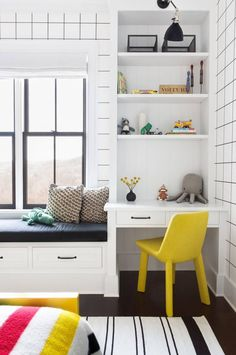 A modern farmhouse with pops of colour and cool patterns - Paul & Paula - modern boys bedroom inspiration with pops of cheery color, a small work space and shelfie area, and built-in bench window seat with cushion. Love a kid room that they can grow into! Kids Room Design, Home Room Design, Kids Bedroom Designs, Cool Kids Bedrooms, Kids Rooms, Small Rooms, Modern Kids Bedroom, Modern Playroom, Modern Boys Rooms