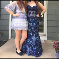 Jovani Sparkling Dark Blue Prom Dress Only worn once, and it's still in great condition! I loved this dress and it's extremely flattering, all the while extremely gorgeous.                        Measurements:                                                         54 inches from neckline to hem.                             21 inches across the bust.                                       15 inches waist, laying flat.                                       21 inches hips, laying flat. Jovani…