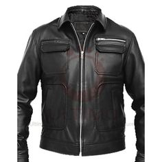 Apollo Bomber Heavy Duty Black Men's Slim Fit Leather Jacket