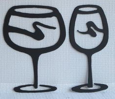 Red and White Wine Glass Set Metal Wall Art by TheSheetMetalKid, $20.00
