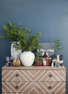 Shop HARPER CHEST, A Quick Guide to Christmas Gift Wrapping, WOODLAND EMBROIDERED WOOL ORNAMENTS, Wrap Jewel Tone Plaid, Table Runner Wrap Chalkboard, Black Wide Striped Cotton Ribbon, VERDANT TREES (SET OF 2), FAUX PINE STEM, TAUPE AND WHITE VASE, TAUPE AND WHITE ROUND VASE, RIDGED BUD VASE, MERCURY GLASS MINI ORNAMENTS (SET OF 8) and more