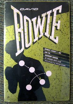 Original 1983 David Bowie concert poster, in shrink with cardboard backing  size: 20 x 13  Metallic gold, pink and black. Poster was styled