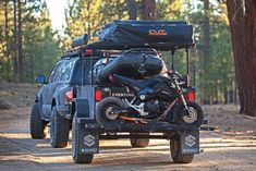 Trailer with Honda Grom Jeep Camping, Camping Trailer Diy, Off Road Camper Trailer, Off Road Camping, Camping Hammock, Winter Camping, Bug Out Trailer, Kayak Trailer, Trailer Build