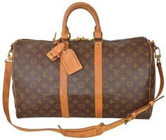 4248f8668e7 Louis Vuitton Duffle Keepall 45 Bandouliere Monogram Carry On Luggage  M41418 Brown Leather   Coated Canvas Weekend Travel Bag 62% off retail