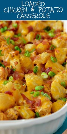 Loaded Chicken and Potato Casserole recipes easy casserole Loaded Chicken and Potato Casserole Loaded Chicken And Potatoes, Chicken Potato Casserole, Casserole Dishes, Loaded Baked Potato Casserole, Stuffing Casserole, Casseroles With Chicken, Recipes With Potatoes, Easy Chicken And Potato Recipe, Easy Leftover Chicken Recipes