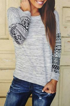 Tribal Pattern Scoop Neck Long Sleeve T-Shirt. Facebook: http://www.facebook.com/abagofhappiness Twitter: http://www.twitter.com/abagofhappiness