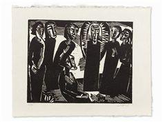 Artwork by Karl Schmidt-Rottluff, Christus unter den Frauen, Made of Woodcut on Japan paper