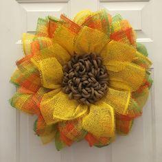 Summer Flower Wreath, Unique Flower Wreath, Summer Wreath, Mother's Day Gift, Spring Wreath, Yellow, Orange, and Green Wreath by JuliesWreathBoutique on Etsy https://www.etsy.com/listing/274646402/summer-flower-wreath-unique-flower