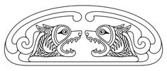 Celtic zoomorphic national figure. Two Dogs head with open mouth and bared fangs looking at each other.