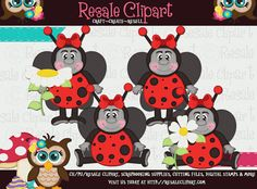LiL Love Bugs Girls 1 Clipart Digital Download by MaddieZee, $2.75