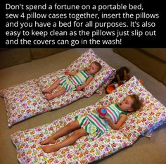 Brilliant! Four pillowcases sewn together. Insert pillows and poof! Travel bed!