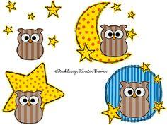 Gute Nacht und schlaf gut Eule Ursula! ♥ Eulen doodle Stickdateien Set. Good night and sleep well owls. Doodle owl appliqué embroidery designs for embroidery machines.  #moon #stars #eulenliebe #sticken #embroiderydesign
