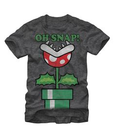 Look at this Gray Heather Mario Piranha Plant 'Oh Snap' Tee - Men's Regular on #zulily today!
