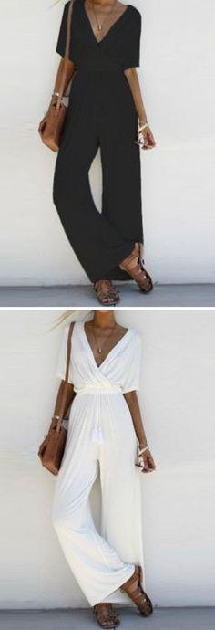 43293412117c Women s Fashion V Neck Short Sleeve Solid Wide Leg Jumpsuit - STYLESIMO.com