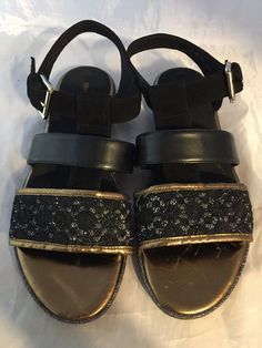 e0af1c4041fe NEW Geox Black Leather   Gold Glitter Sandal Women Size 10.5 M  fashion   clothing