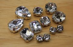 crystal mix lot 12pcs crystal sew on setting clear by MissVirgocraftsupply