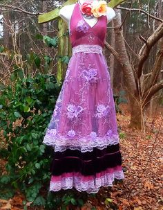 Purple maxi dress beaded lace velvet cotton  rose boho  vintage  romantic medium by vintage opulence on Etsy