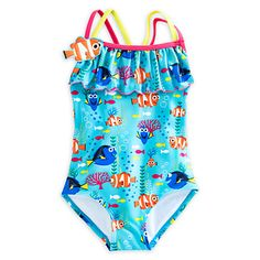 Finding Dory one piece swimsuit for girls available in sizes 2 though 7/8.